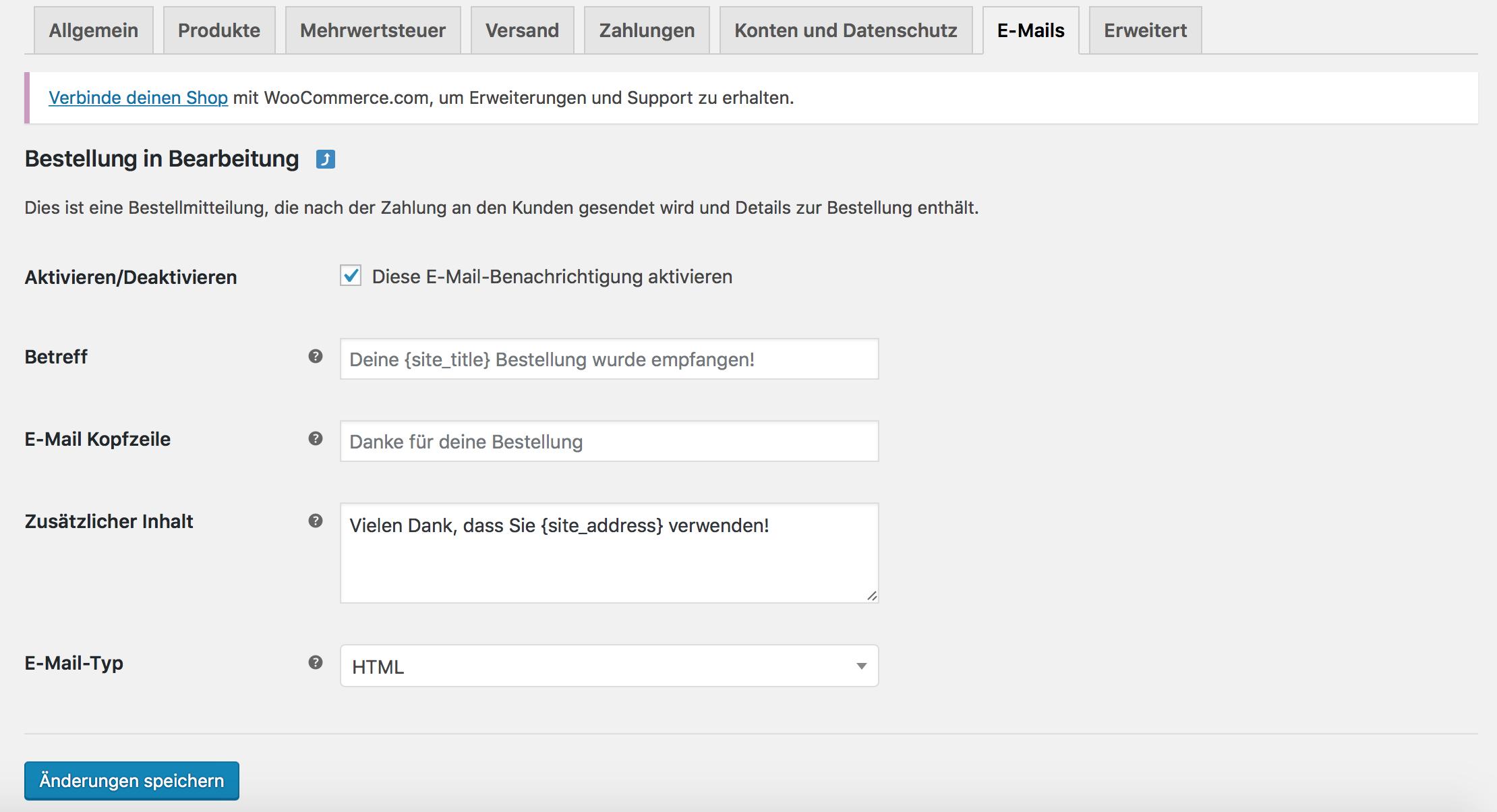 Zusätzlicher E-Mail Inhalt in WooCommerce 3.7