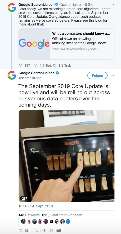 Google Broad Core Search Algorithmus Update Twitter