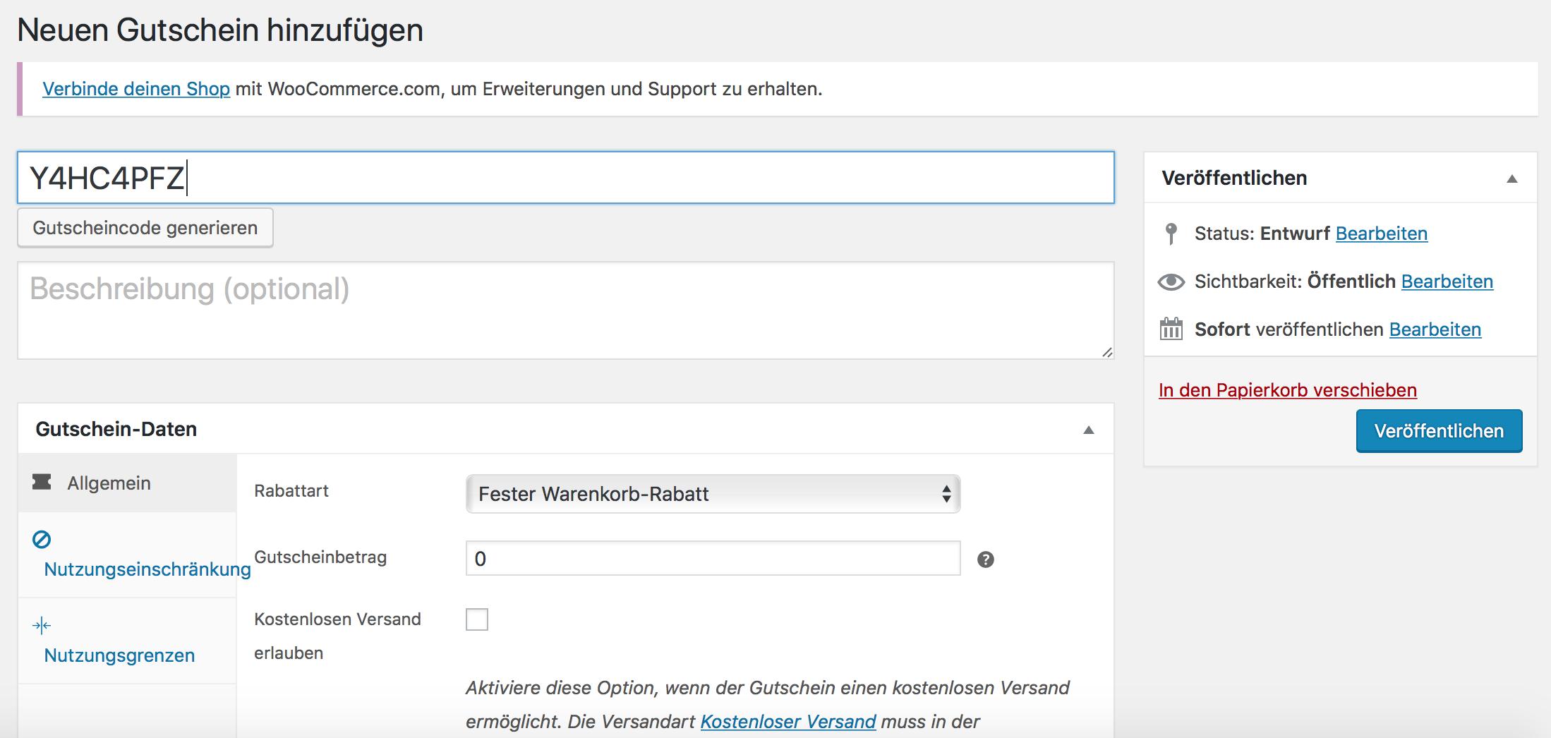 Gutscheincode-Generator in WooCommerce 3.7