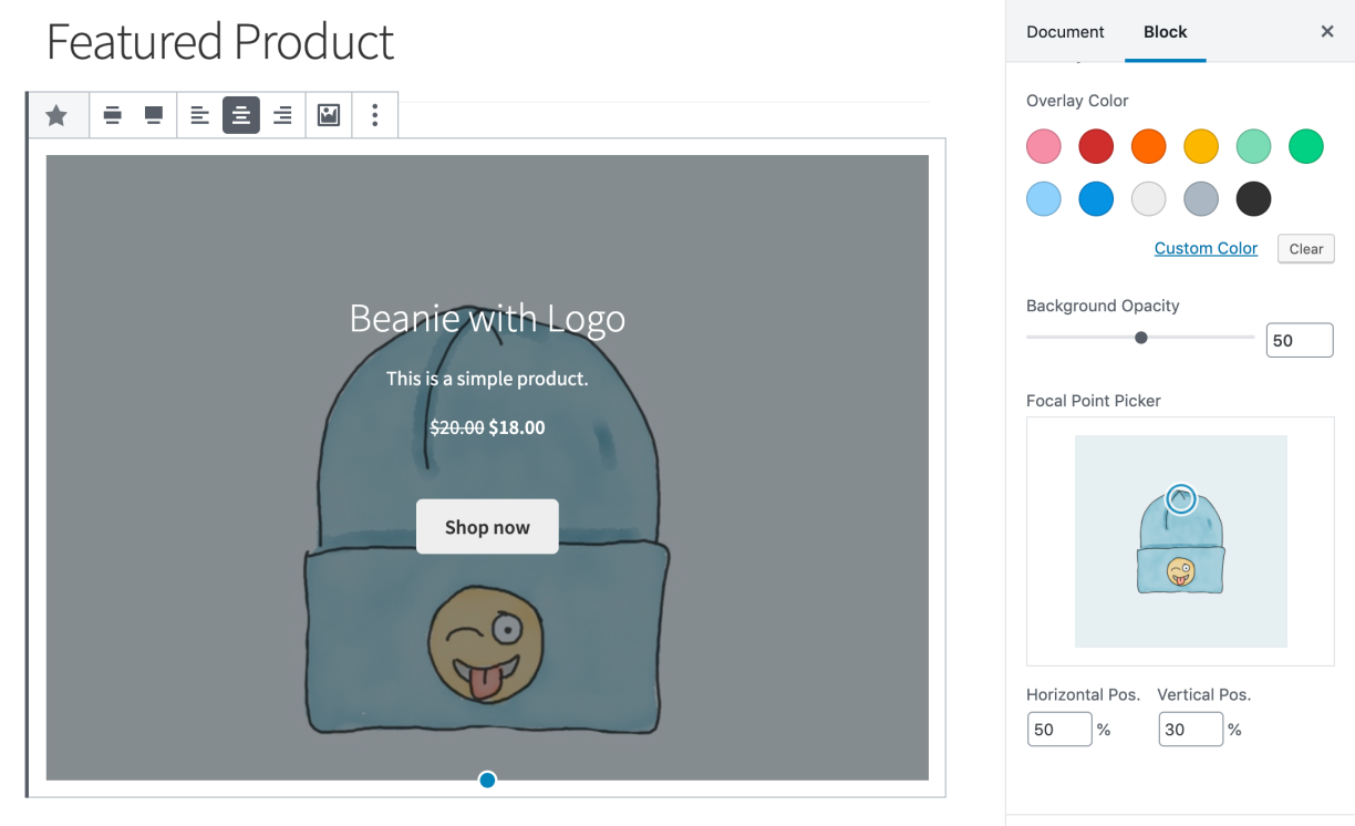 Focal Point Picker in WooCommerce 3.7 (Quelle: WooCommerce.com)