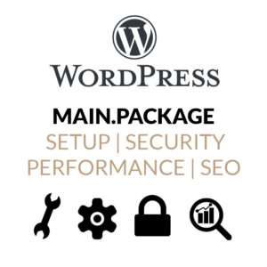 WordPress Main Package mit Installation, Sicherheitsanpassungen, Performance-Optimierung und SEO