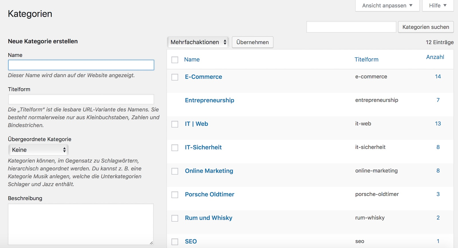 Beitragskategorien oder Kategorien in WordPress