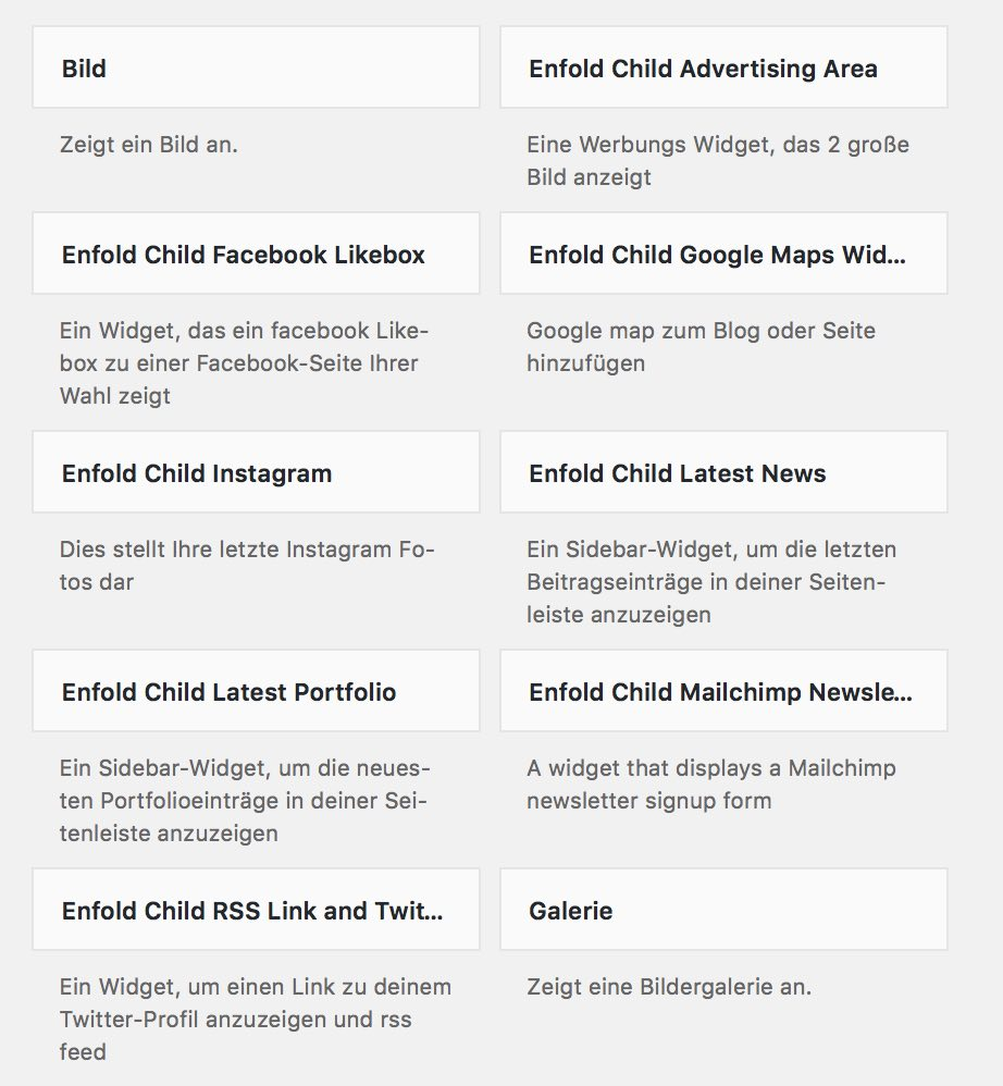 WordPress Theme Enfold Widgets