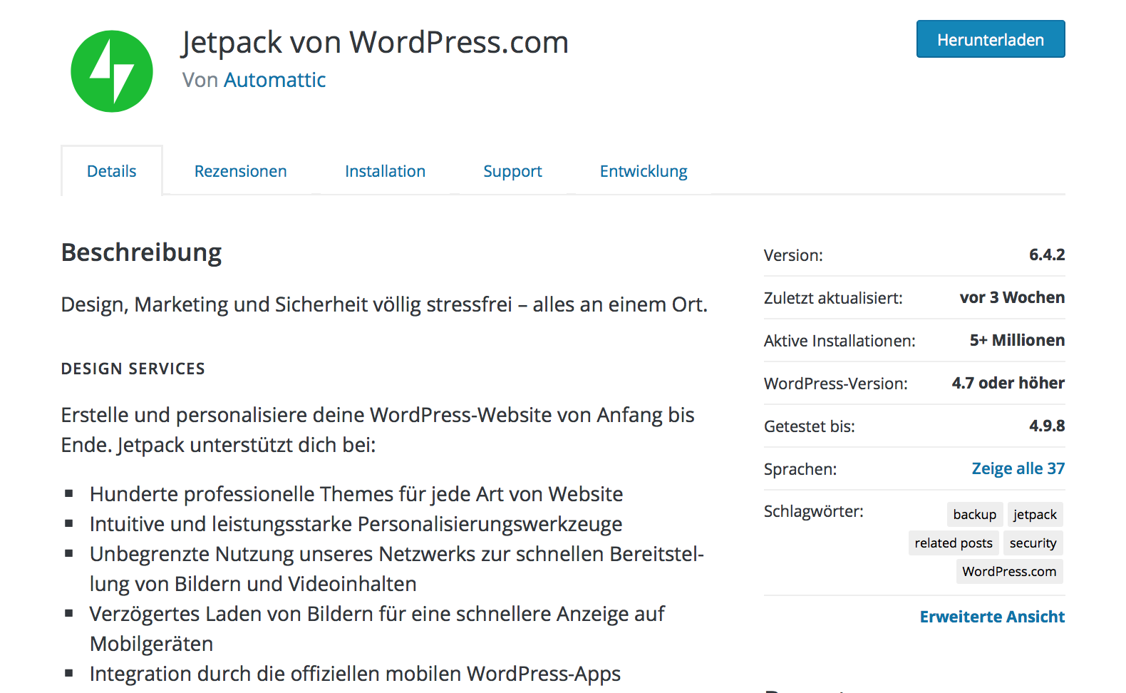 Jetpack Plugin für WordPress