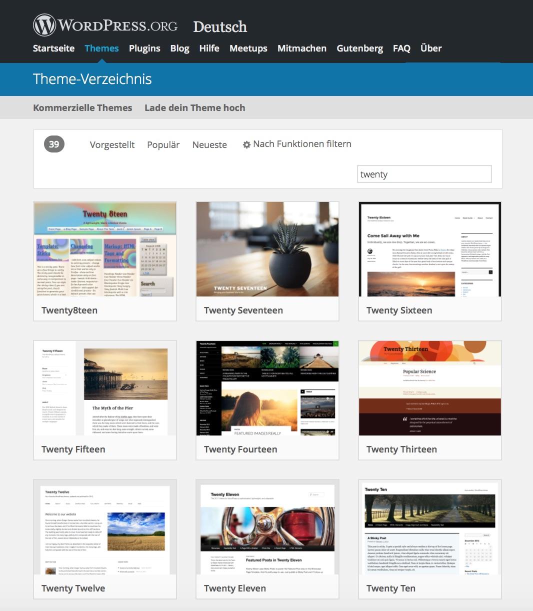 Offizielle WordPress Themes