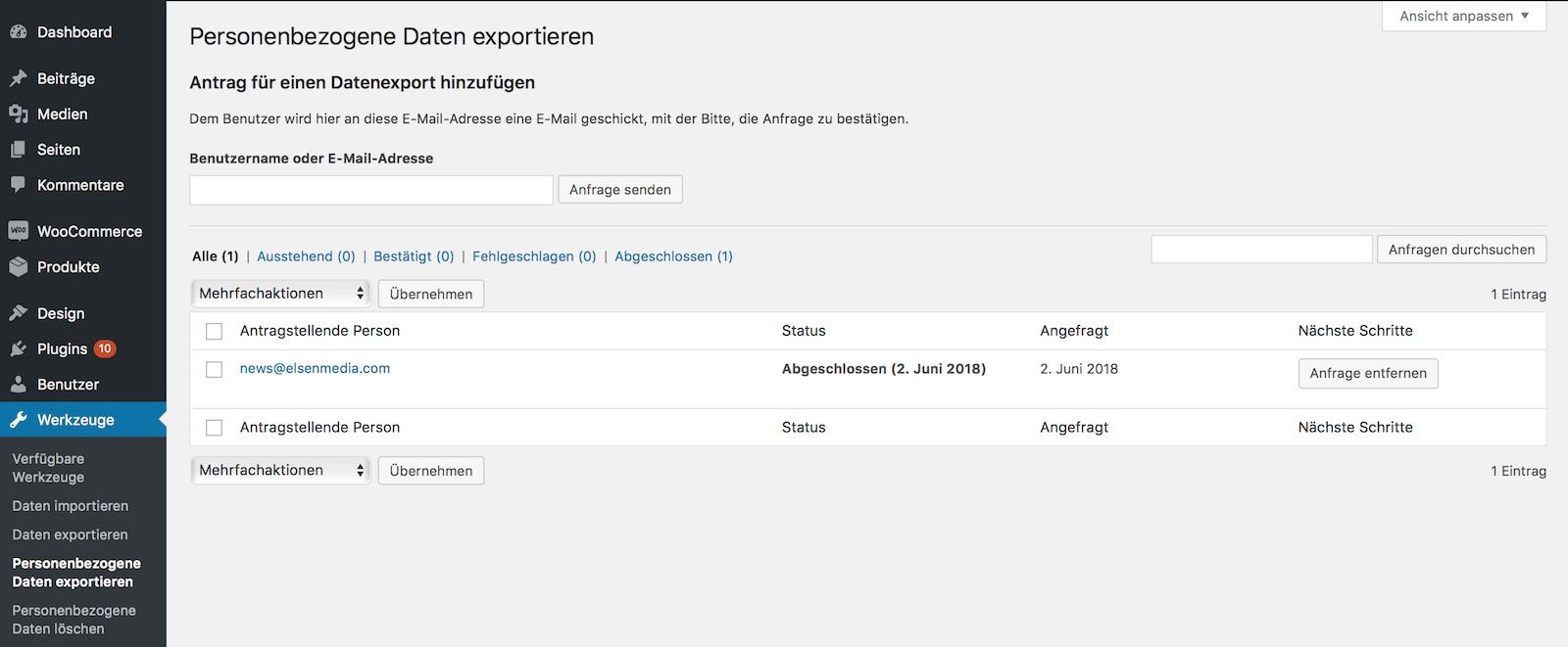 Personenbezogene Daten exportieren