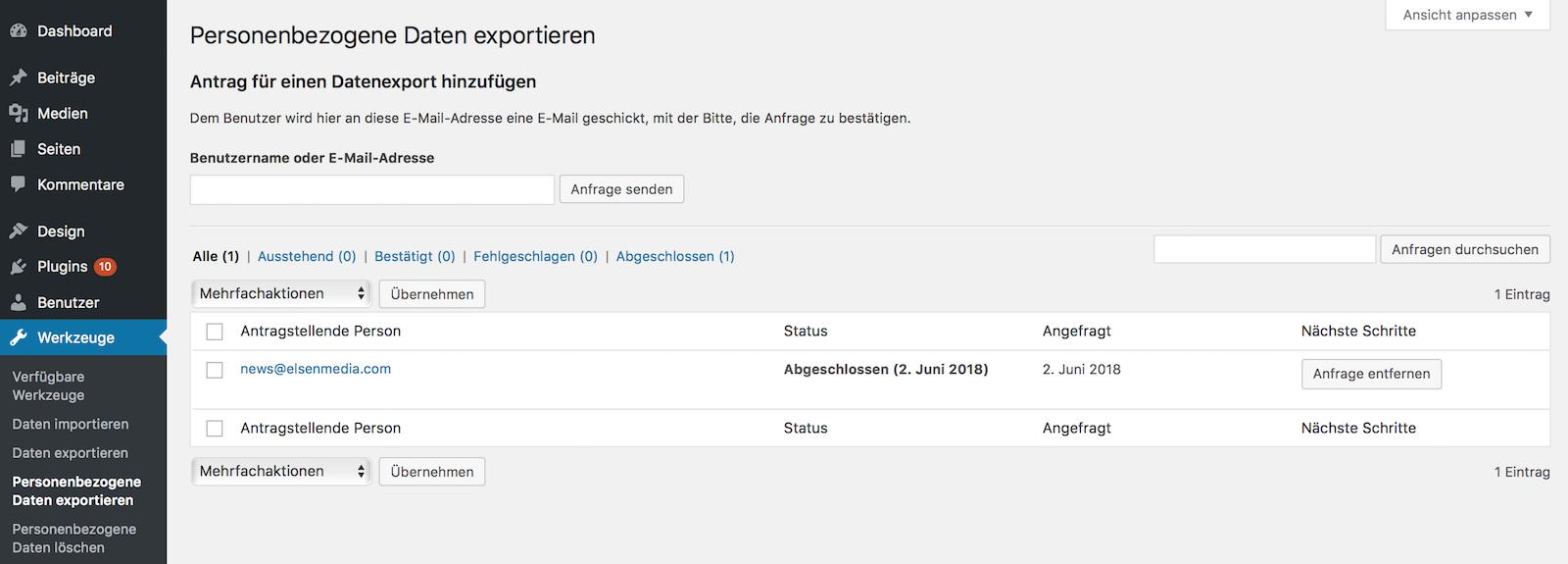 Personenbezogene Daten in WordPress exportieren und importieren