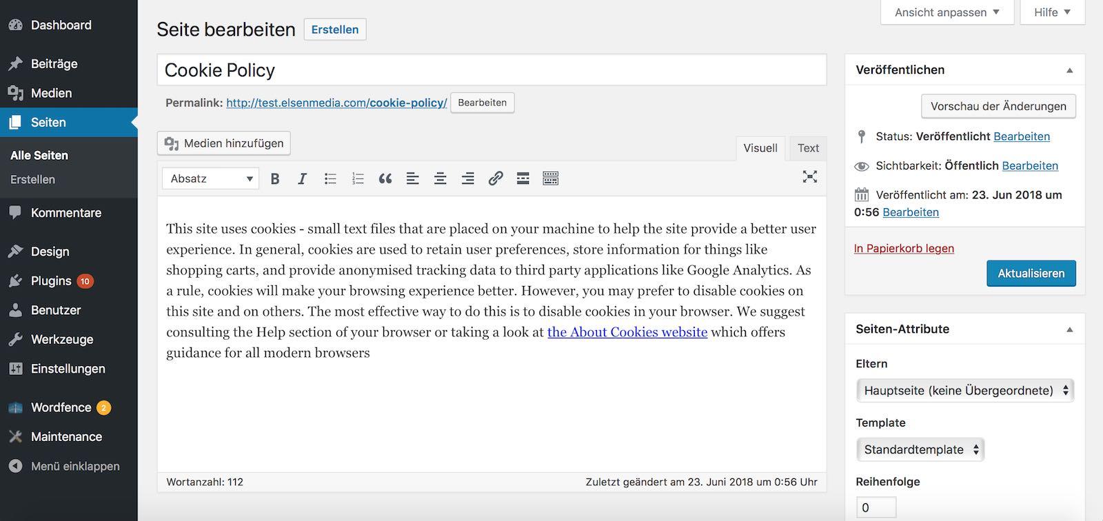 Statische Seiten in WordPress