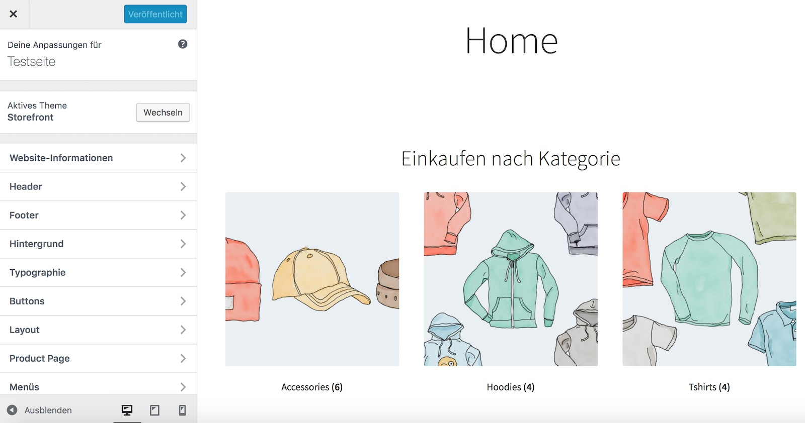 Storefront Theme für WooCommerce