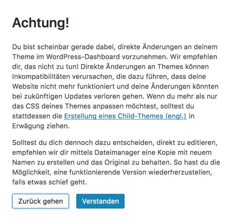 Warnung bei der Verwendung des WordPress Editor