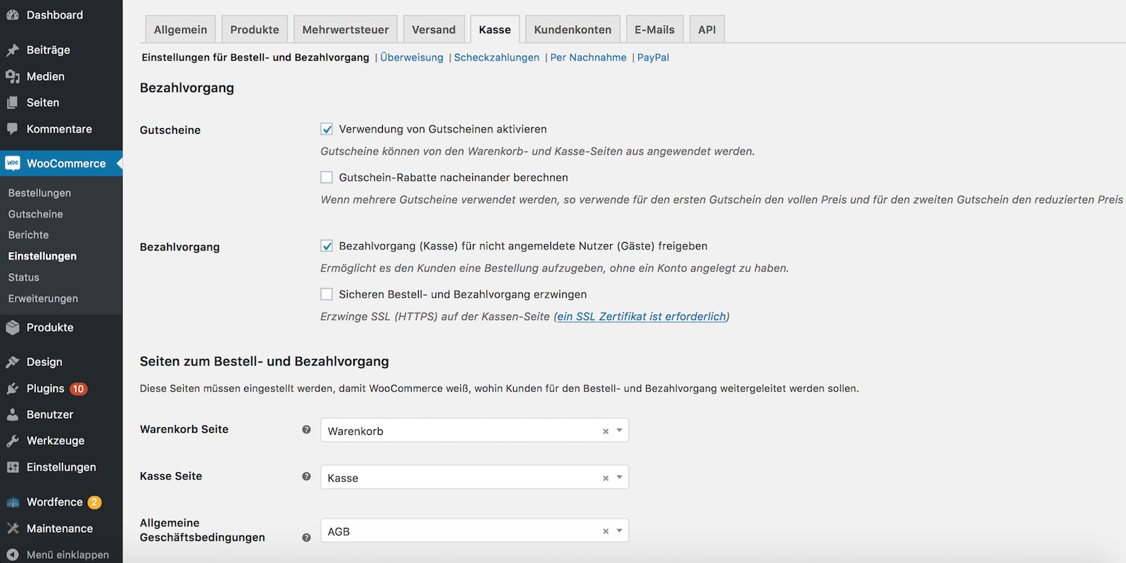 WooCommerce Kasse einstellen