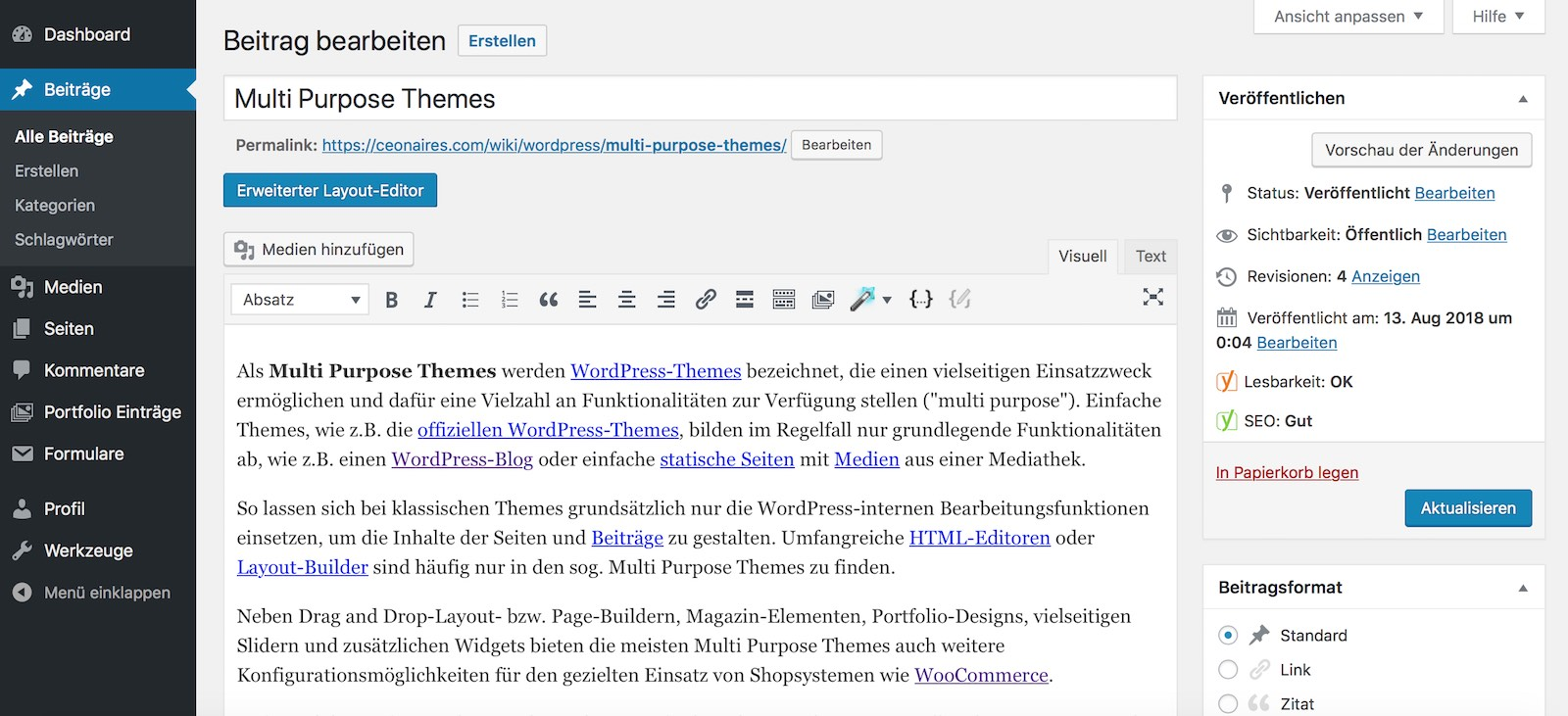 WordPress Beiträge im Beispiel