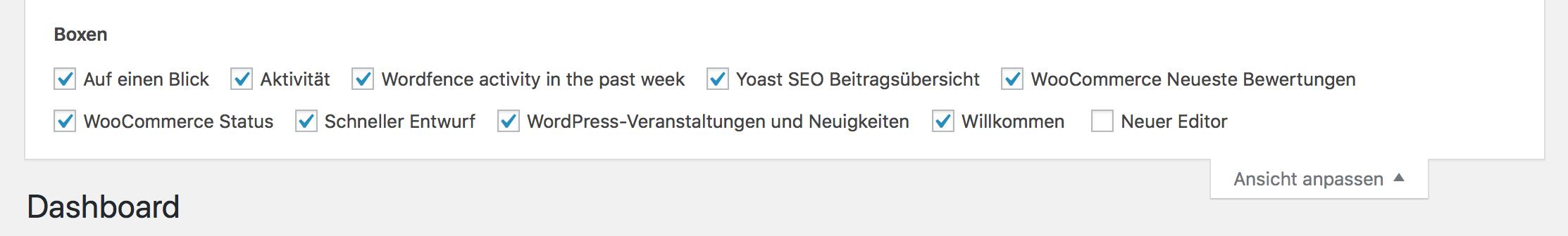 WordPress Dashboard anpassen