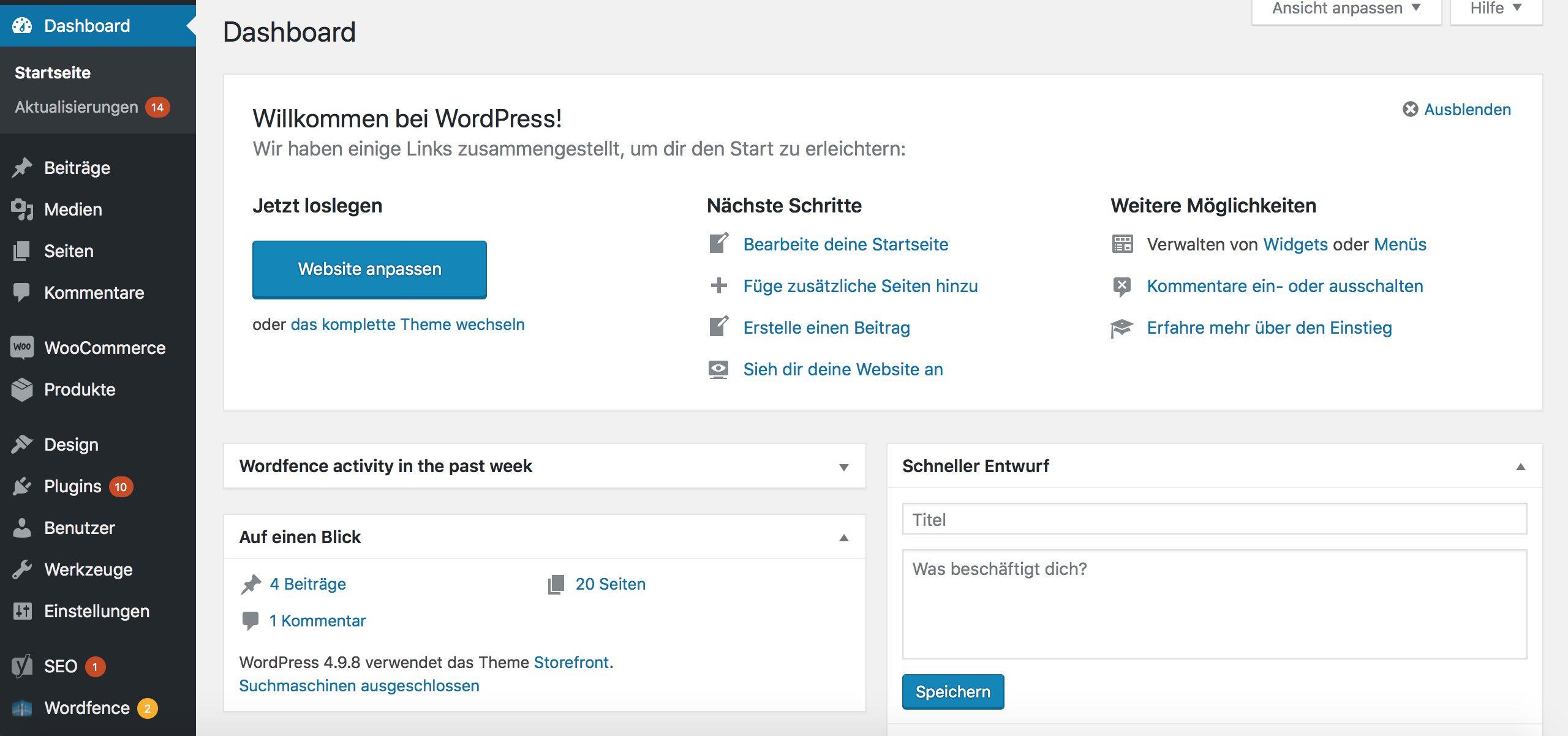 WordPress Dashboard einstellen