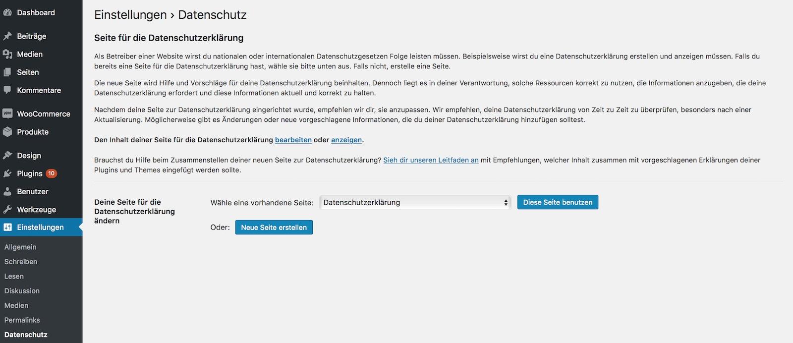 WordPress Datenschutz Einstellungen