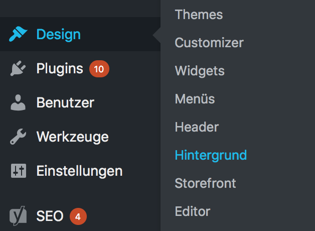 WordPress Design Menü