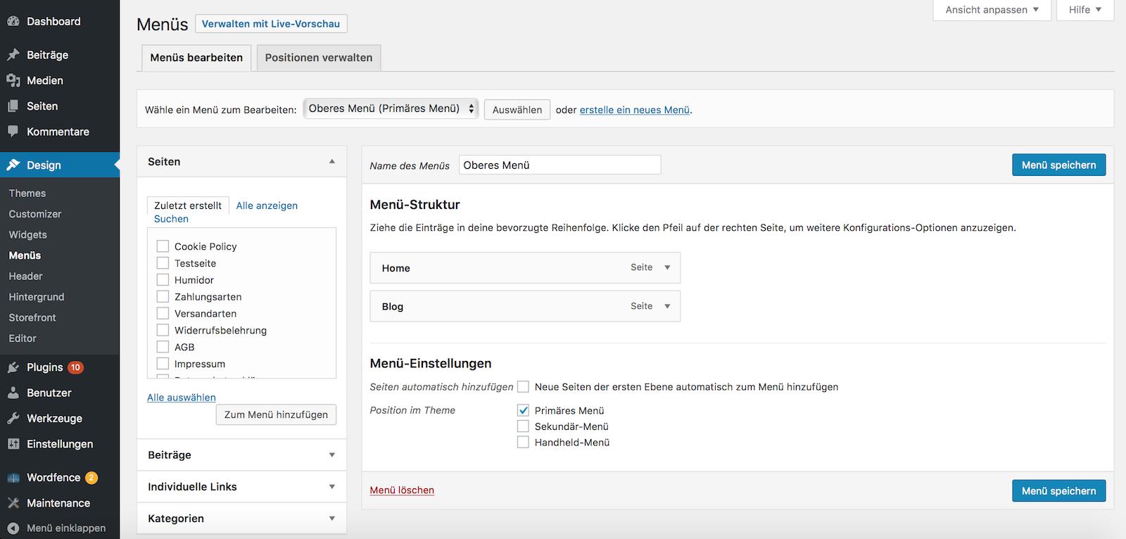 WordPress Menü anlegen und bearbeiten