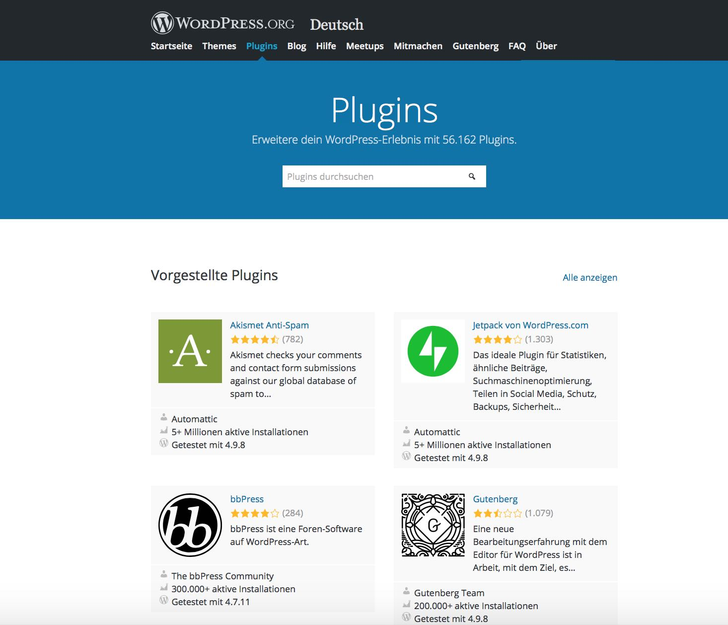 WordPress Plugins im Plugin-Store