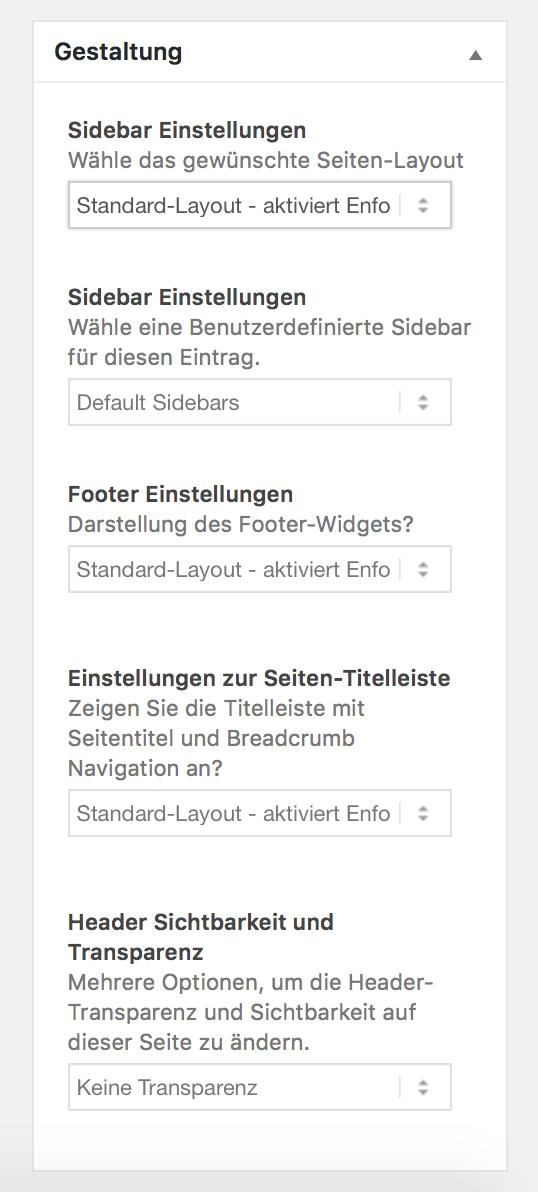 WordPress Sidebar Gestaltung