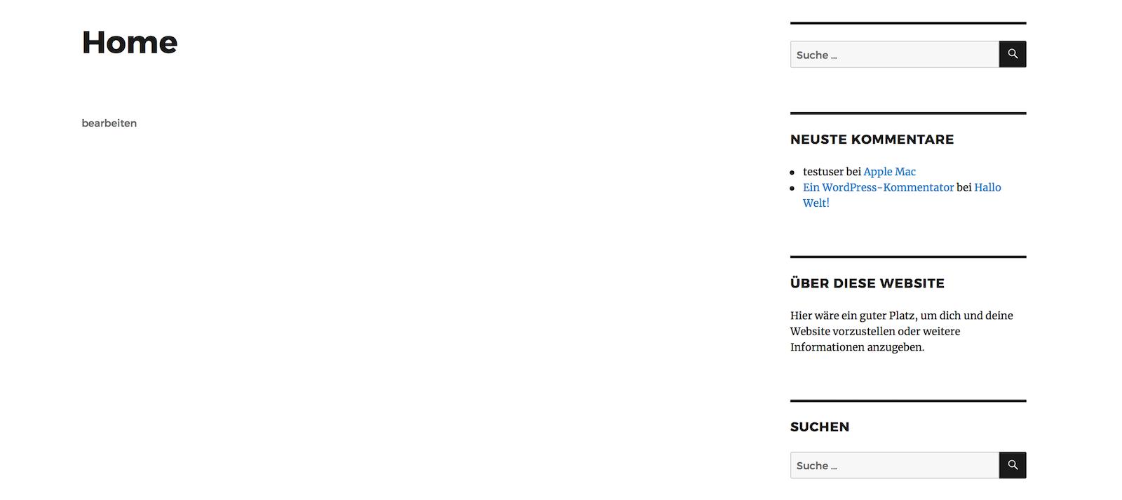 WordPress Sidebar Beispiel