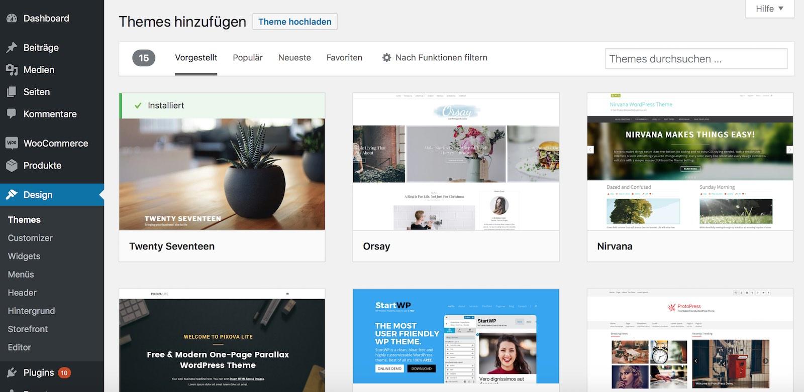 WordPress Theme über internen Theme-Store installieren