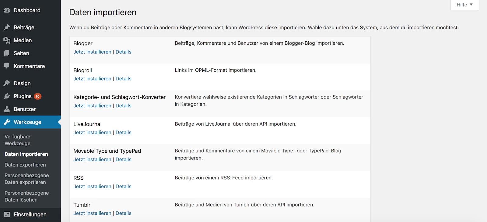 WordPress Werkzeuge für Import und Export