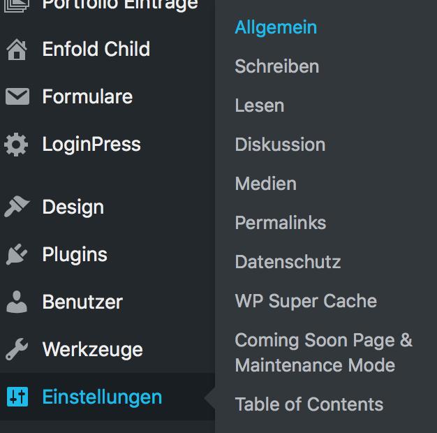 Allgemeine Einstellungen in WordPress