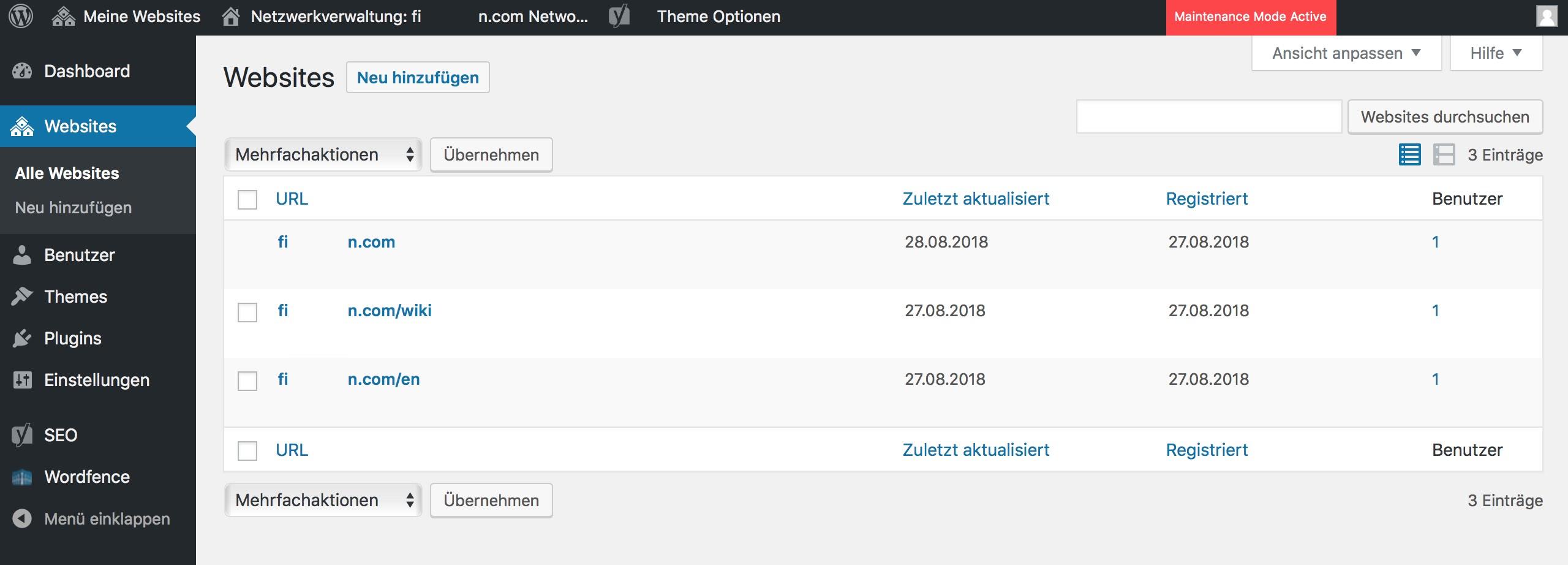 WordPress Multisite Netzwerk Beispiel